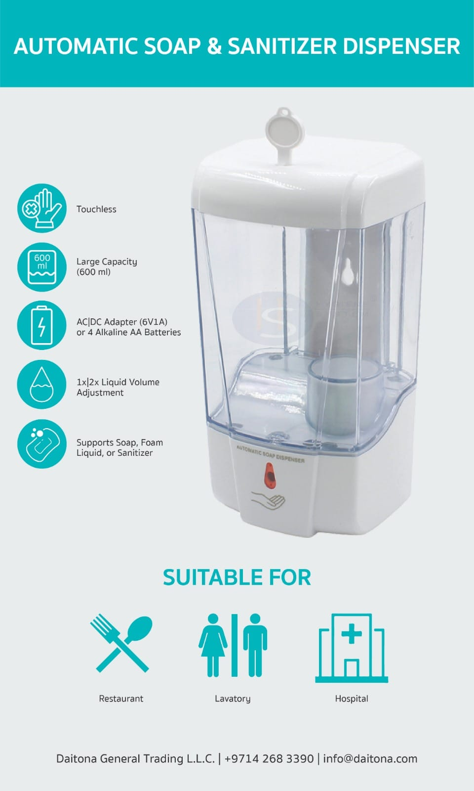 Hygiene System Wall Mount Automatic Soap Dispenser - 600 ml