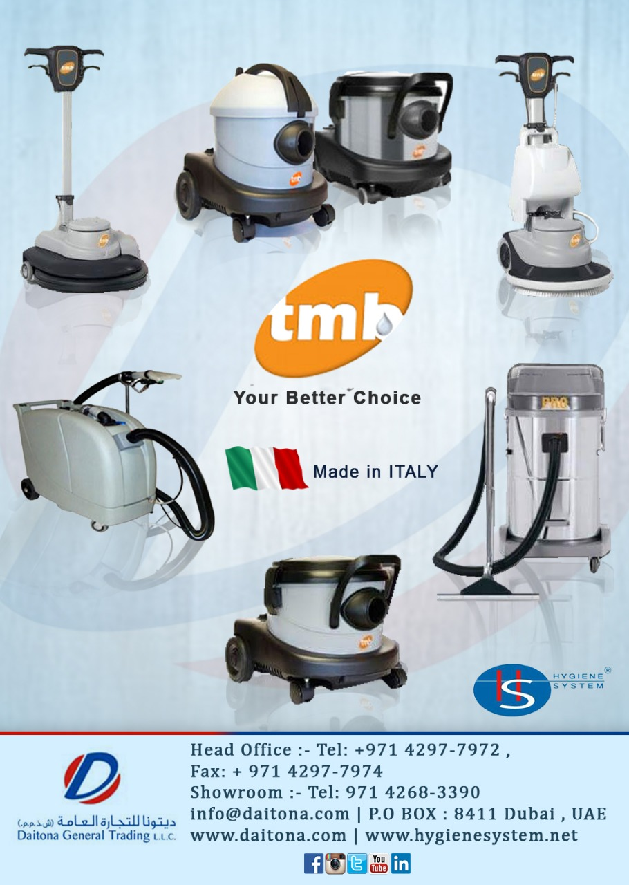 Tmb Italy The Latest Range of Cleaning Machines at Daitona General Trading L.L.C.