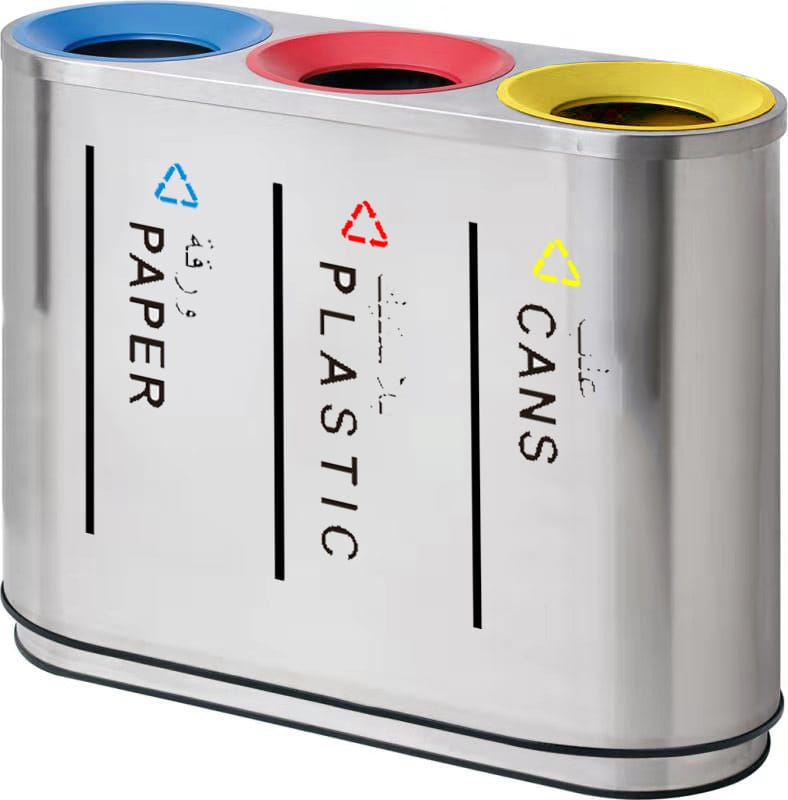 Recycle Stainless Steel Bins 3 Compartments